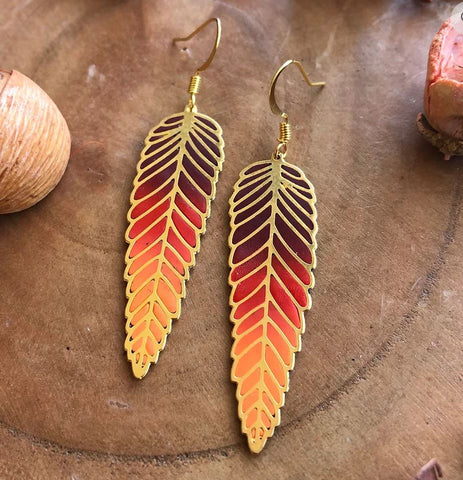 Magical Ferns Earrings (Red)