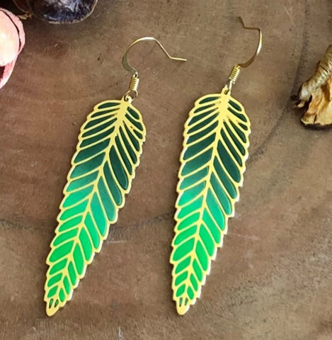 Magical Ferns Earrings (Green)