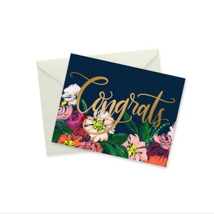Floral and Gold Foil Congrats Card