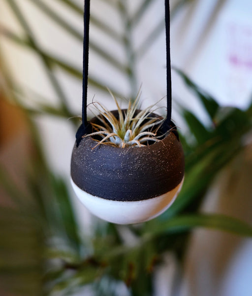 Mini Hanging Planter (Charcoal + White)