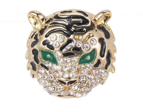 Gold Plated Green Eye Tiger Lapel Pin