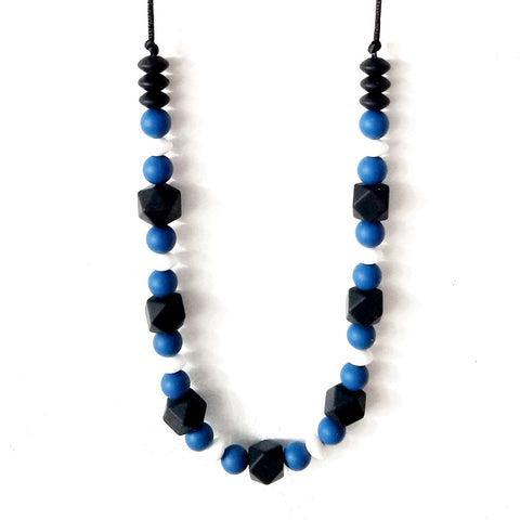 Black + White + Blue Chewable Necklace