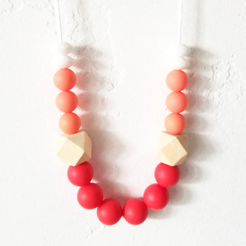 Cheery Red, Coral + White Chewable Necklace