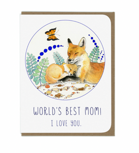 World's Best Mom Fox Card