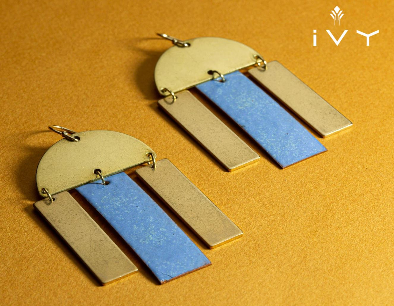 Brass + Enamel Villa Earrings Daphne Blue