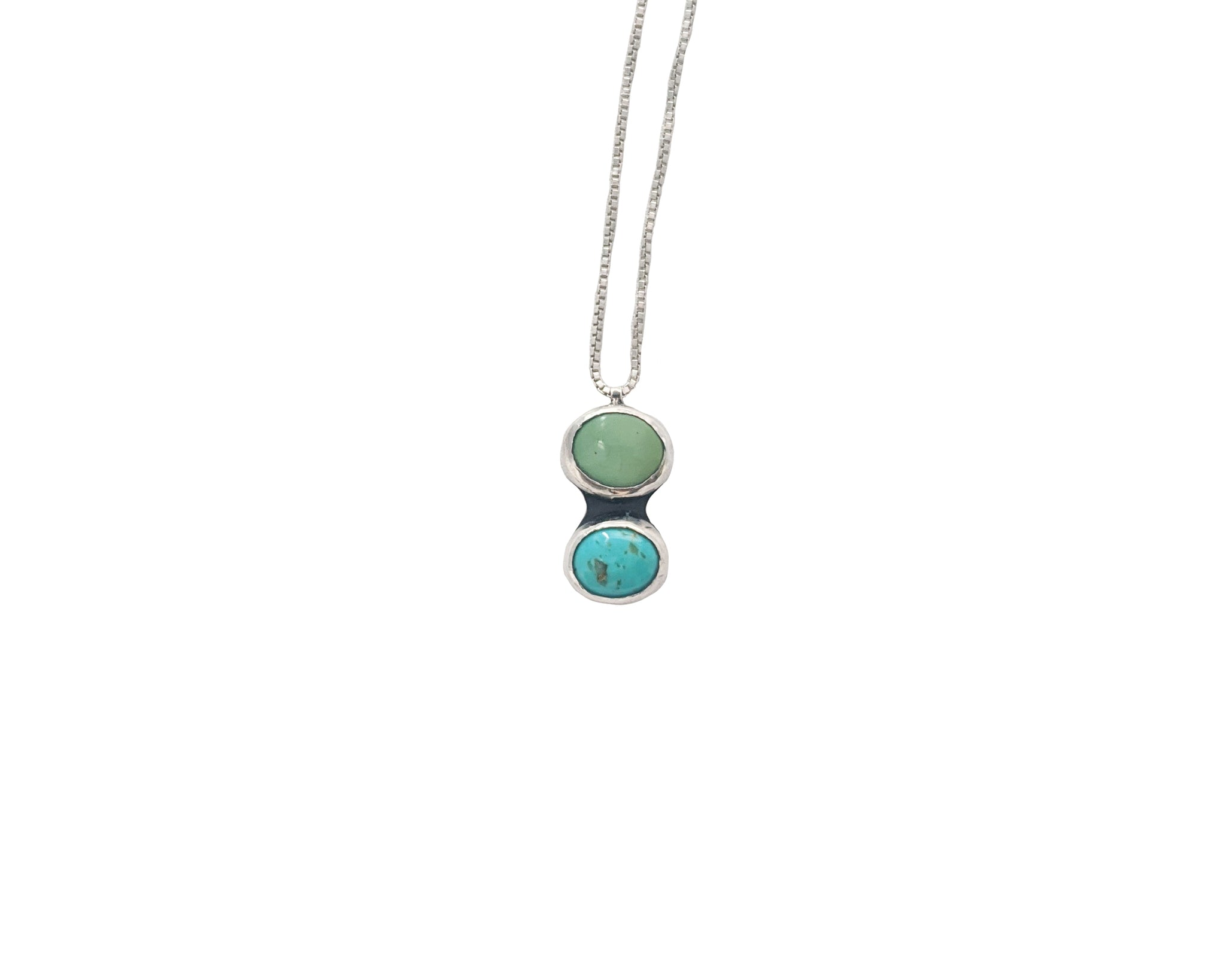 Capella Double Turquoise Stone Necklace (Silver)