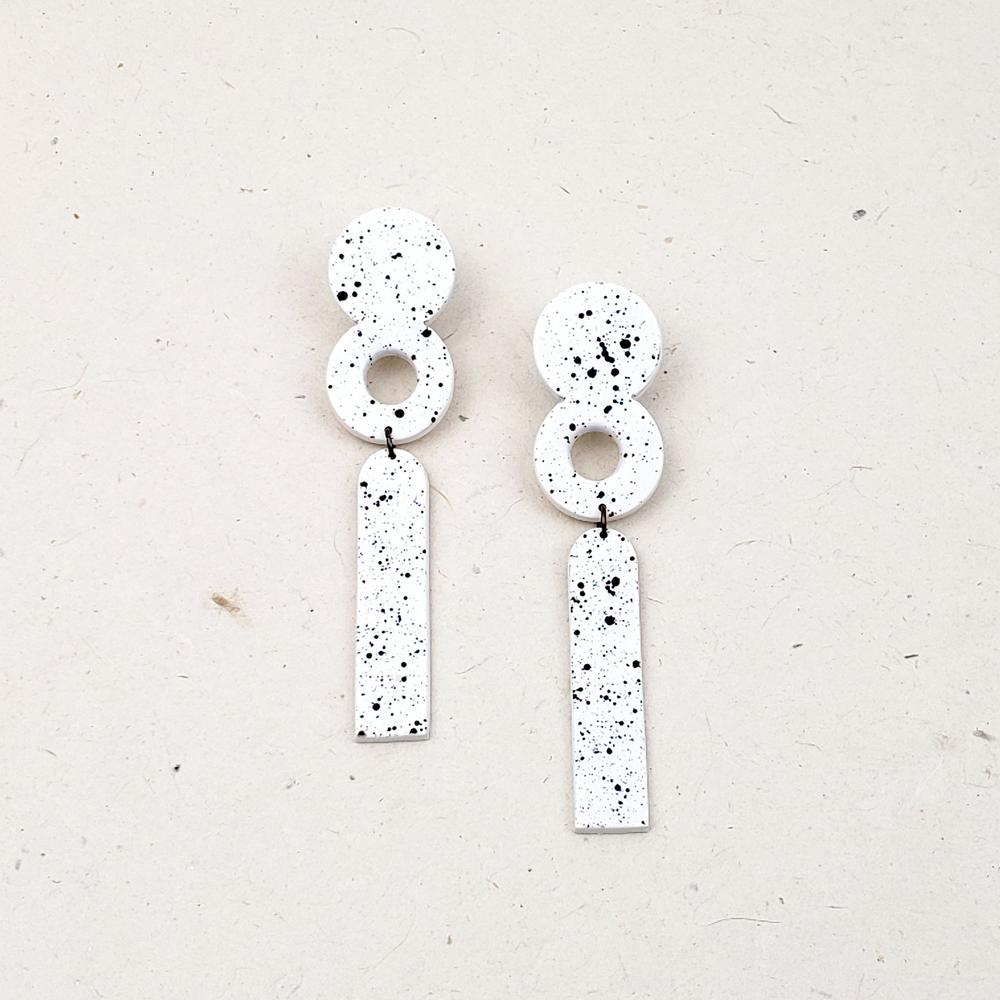 Long Geometic Statement Earrings (White with Black Specks)