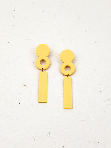 Long Geometic Statement Earrings (Yellow)