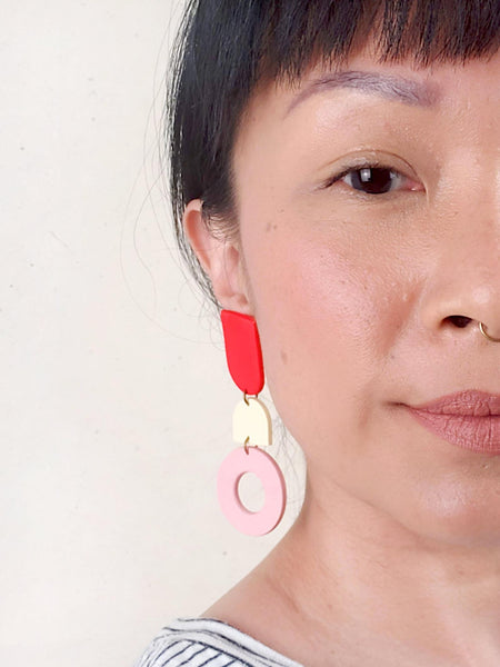 """Love Endeavor"" Statement Earrings (Pink / Red)"