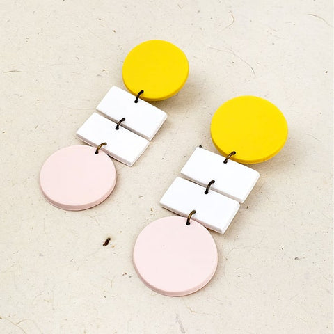 """Bauhaus"" Statement Earrings (Yellow / Pale Peach)"