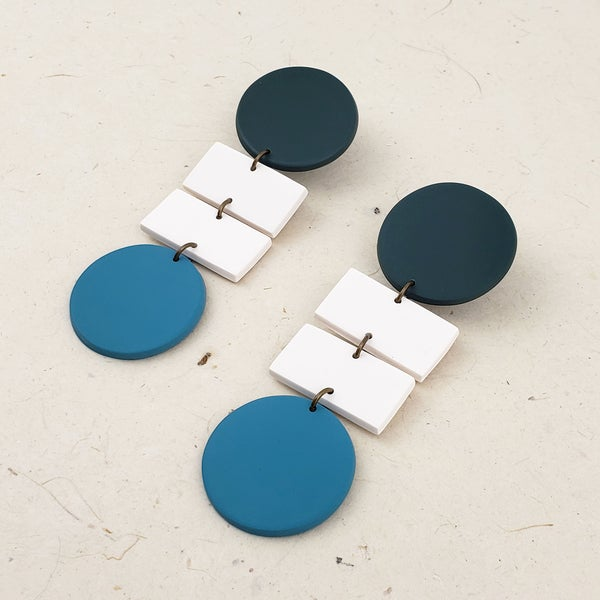 """Bauhaus"" Statement Earrings (Forrest Green / Lake Blue)"