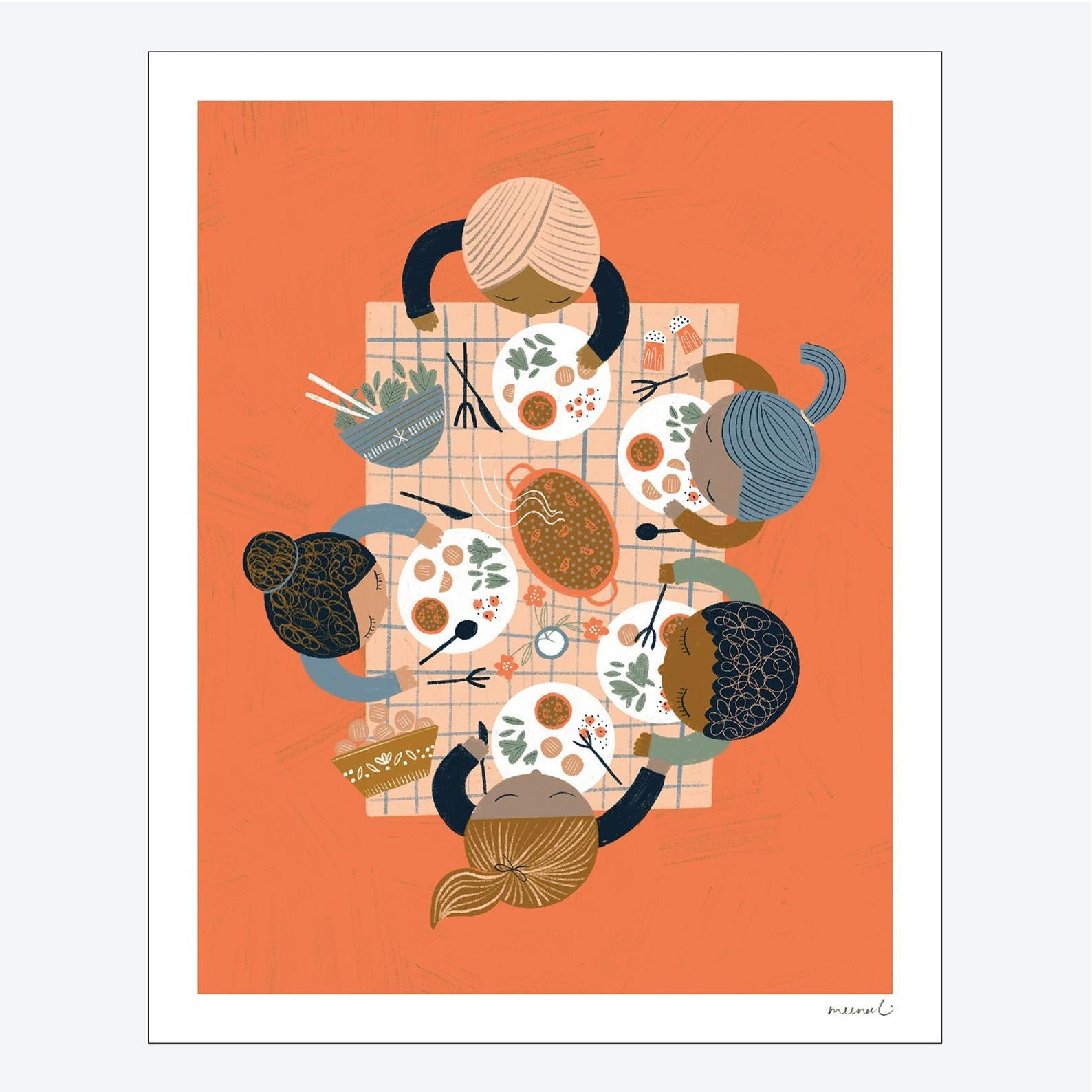 Foodie Friends On Art Print