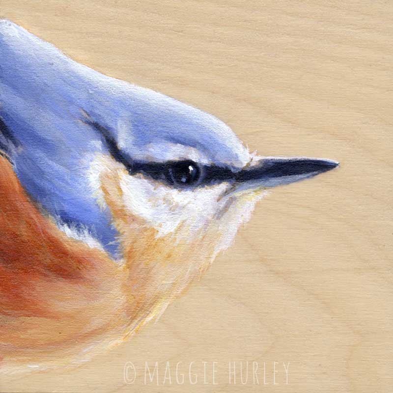 Red-Breasted Nuthatch – Bird Art Print on Wood
