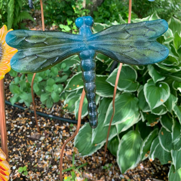 Blue and green shimmery Dragonfly Garden Stake