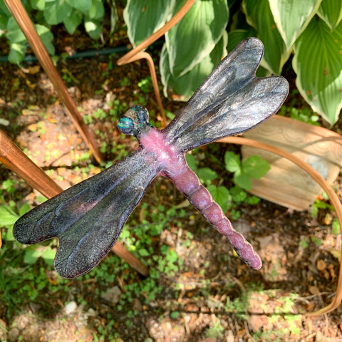 Pink and mauve Dragonfly Garden Stake