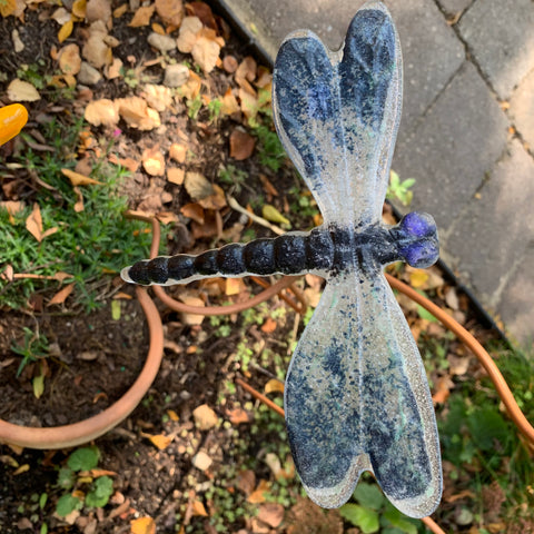 Navy, royal blue and clear Dragonfly Garden Stake