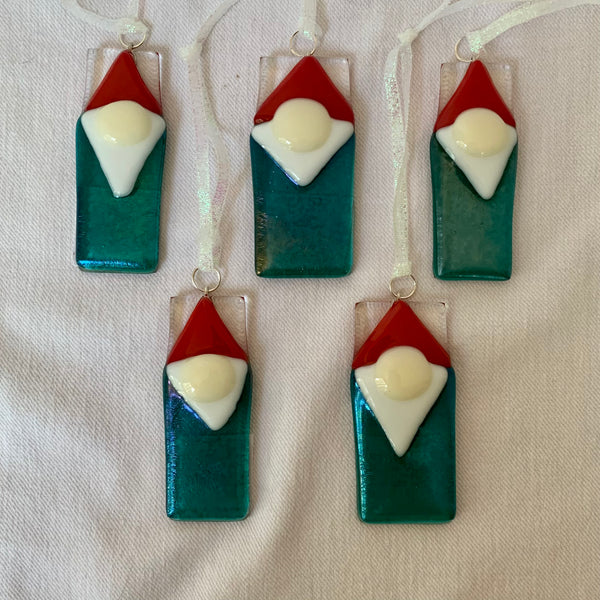 Aqua iridized glass gnome ornaments