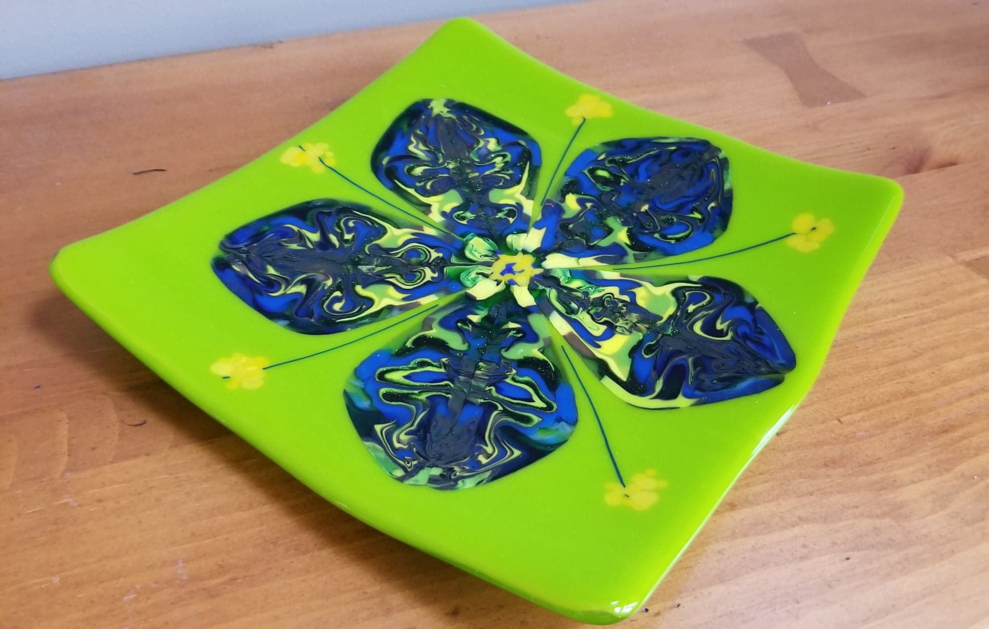 Bright Green Tray with Blue Flower