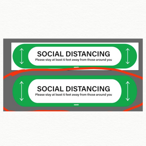Social Distancing Floor Decal-Green-Rectangle