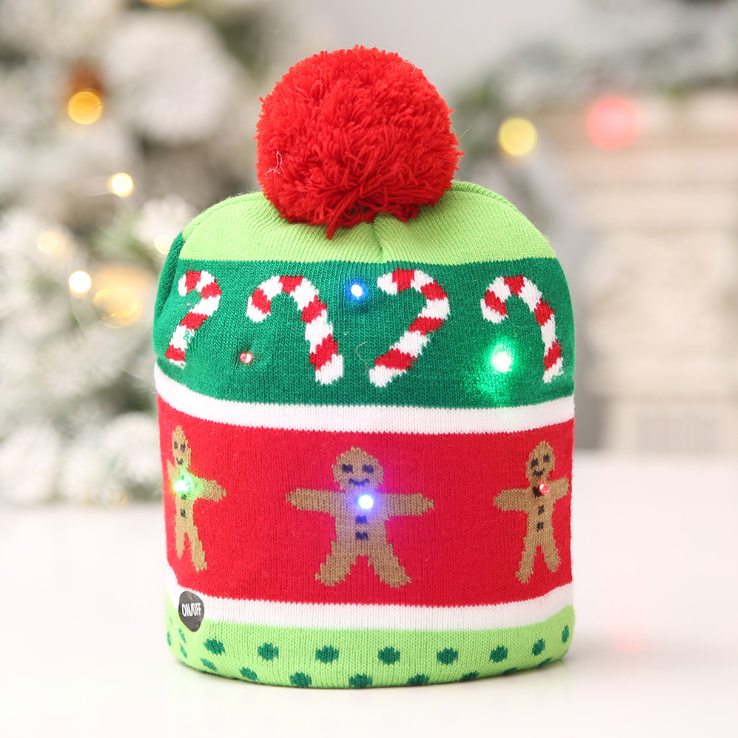 LED Holiday Knit Beanie Hat