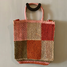 Load image into Gallery viewer, Jute macramé bag with patchwork design and pink handles-Bags-Maison Bengal-Animo Store