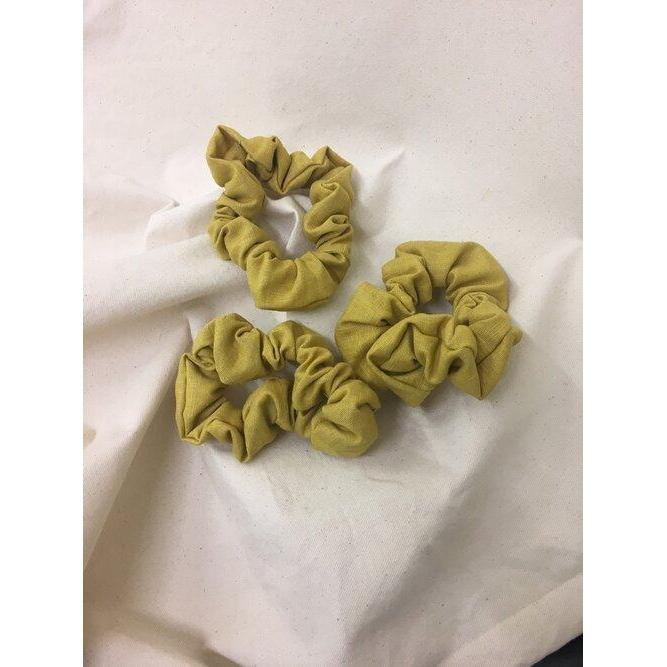 Ocra Yellow Linen Scrunchie Hair Tie-Scrunchies-rosana exsposito-Animo Store