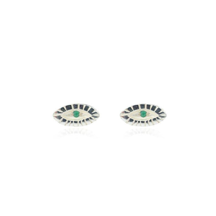 Tiny eye silver stud earring with Emerald stone-Animo Store-Animo Store