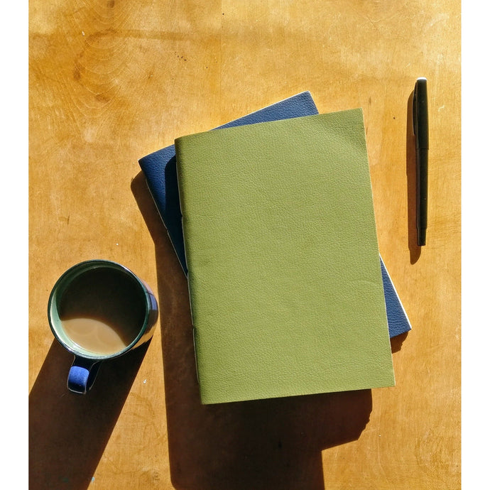 Vegan Leather Bound A5 Note Book in Olive Green and Pink Blush-Notebook-Ffaun-Animo Store