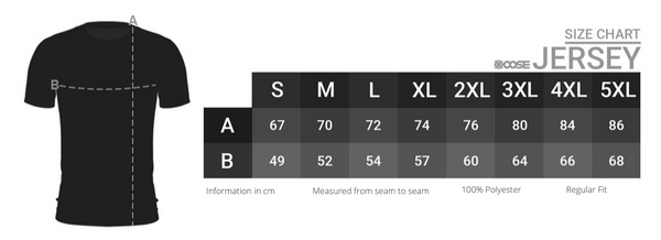Team Vertex Jersey 2021 Edition by Xoose Size Chart - Vertex Jersey Size Chart