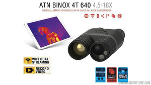 ATN Binox-4T 640-2.5-25x, 640x480, 50mm, Thermal Binocular with Laser range finder, Full HD Video rec, WiFi, GPS, Smooth zoom and Smartphone controlling thru iOS or Android Apps-binoculars-US Crossbow & Archery Store