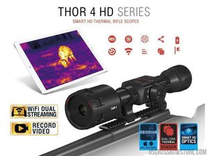 ATN Thor 4, 1-10x Thermal Rifle Scope with Full HD Video rec, WiFi, GPS, Smooth zoom and Smartphone controlling thru iOS or Android Apps-thermal scope-US Crossbow & Archery Store