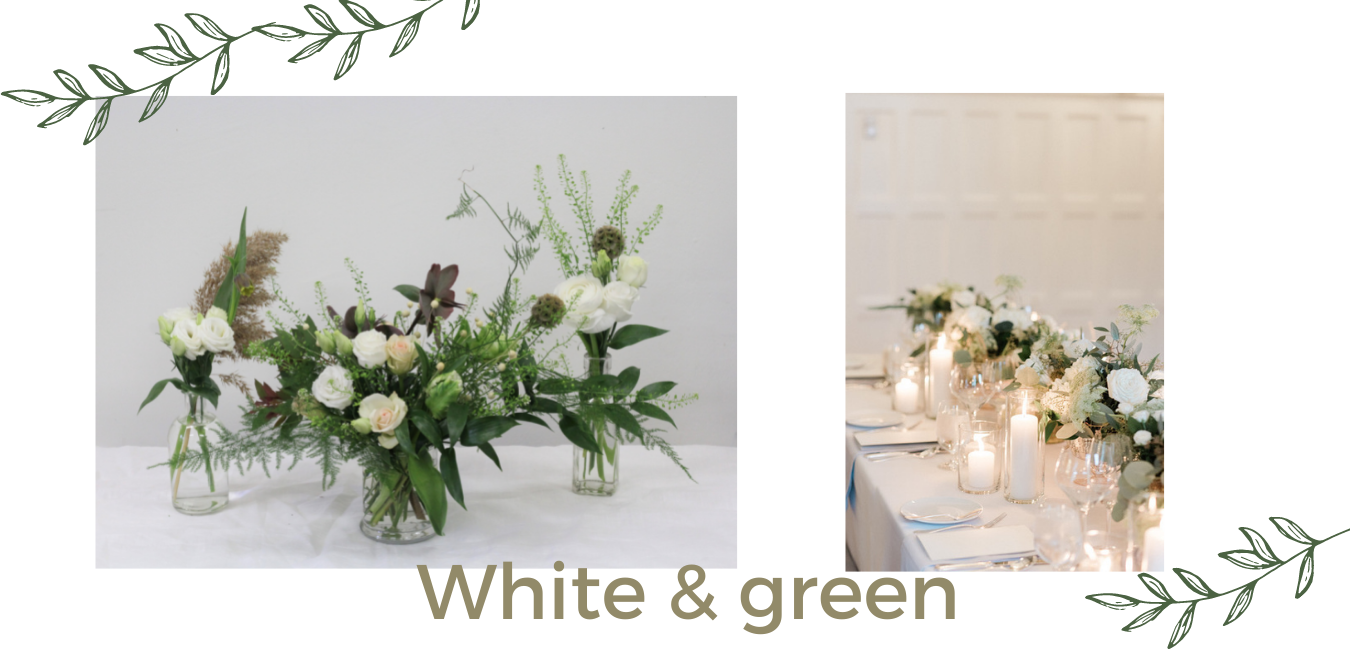 white and green colour palette party flowers periwinkle toronto
