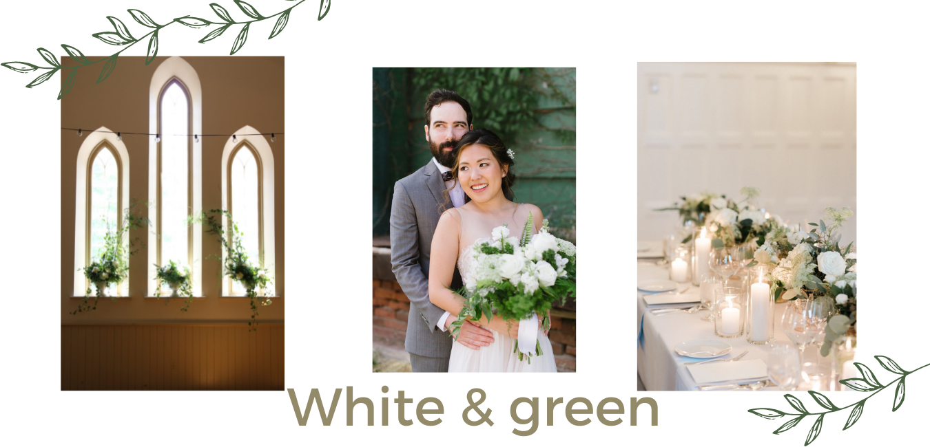 white and green wedding toronto periwinkle flowers
