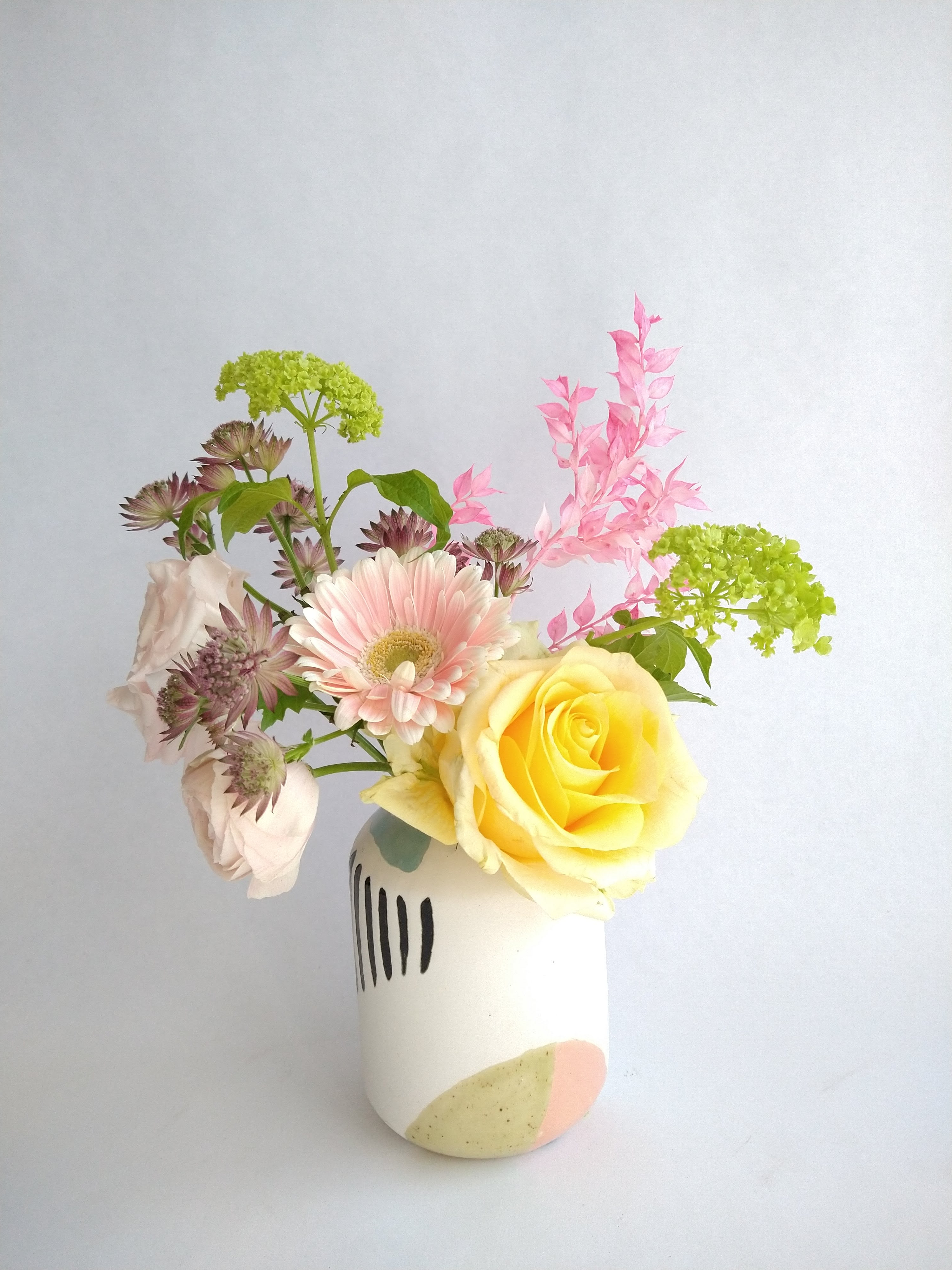 Abstract budvase with posy