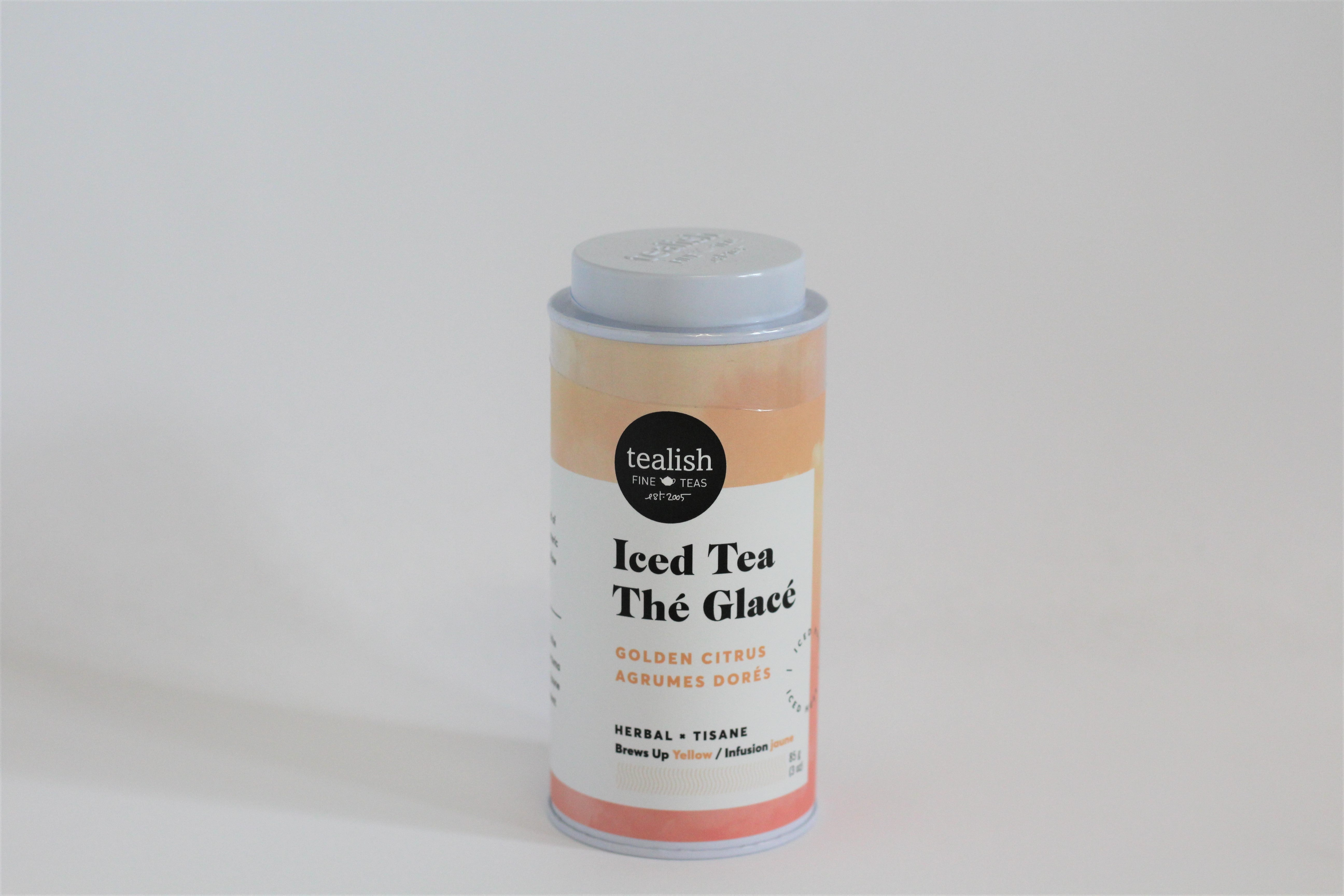tealish golden citrus iced tea periwinkle flowers florist toronto