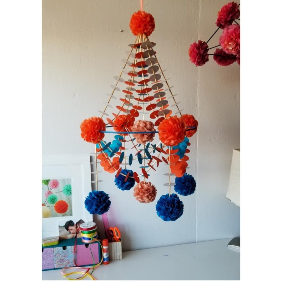 Paper chandelier in blue/orange/rust