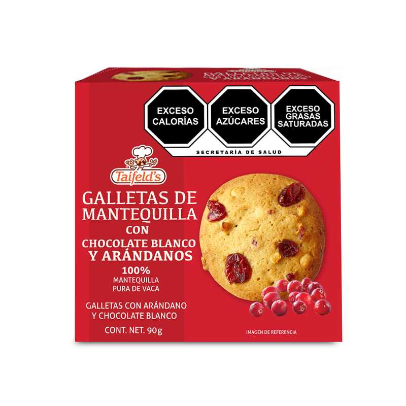 Galletas de Mantequilla con Chocolate Blanco y Arándanos