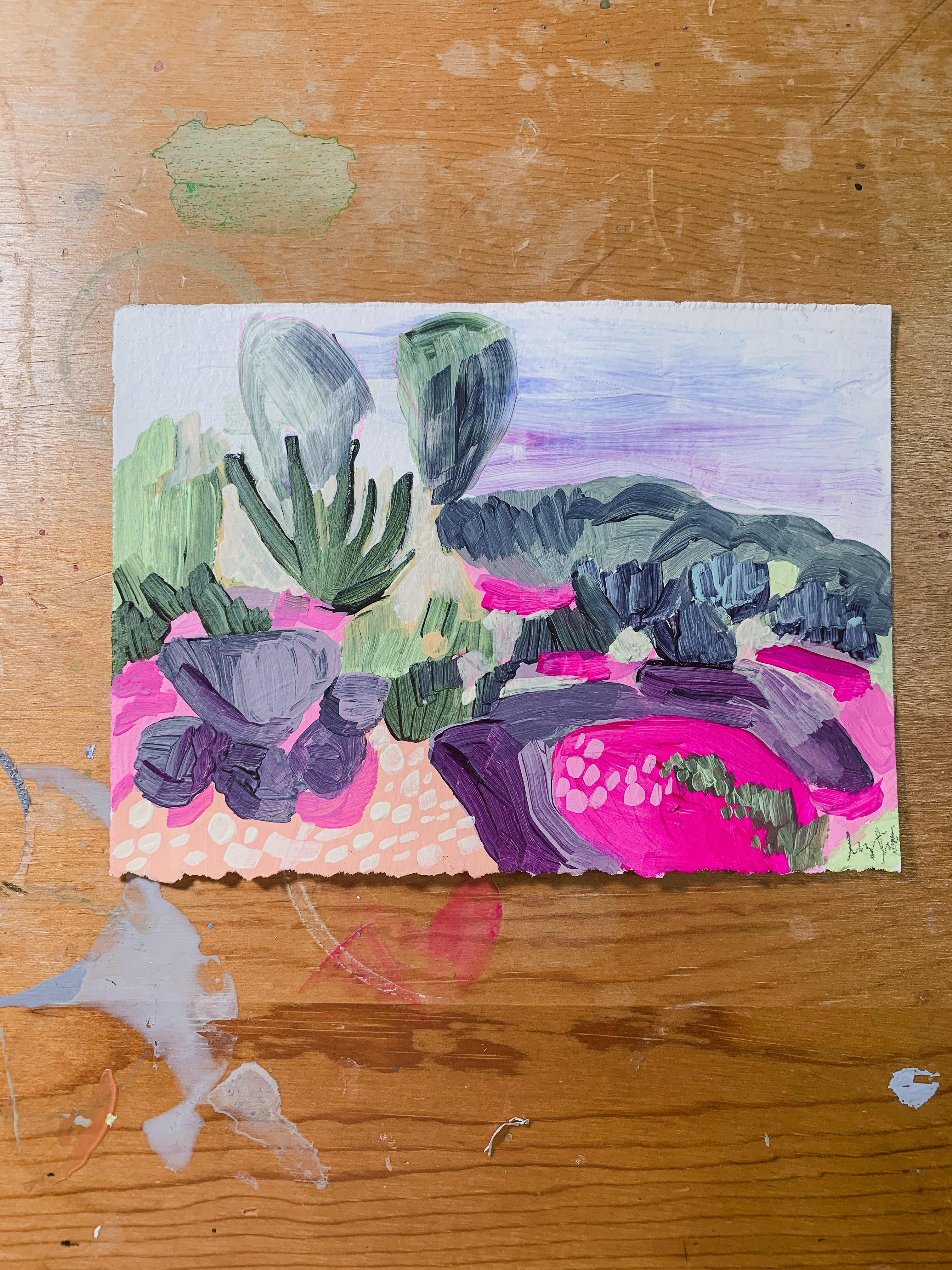 Jardin I, Small Acrylic Painting (5x7 inches) on Paper, Unframed