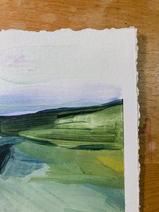 Pointe du Raz II, France, Small Acrylic Painting (5.25 x 7 inches) on Paper, Unframed