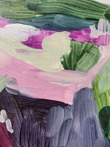 Lavender Field, Small Acrylic Painting (5x7 inches) on Paper, Unframed