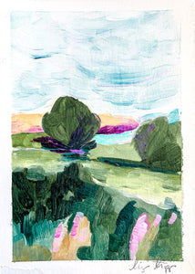 Pointe du Raz, France, Small Acrylic Painting (5x7 inches) on Paper, Unframed