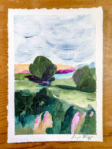 This is a 5 x 7 inch landscape painting of Pointe du Raz, France. It is slightly abstract with large brushstrokes. The landscape features a big open sky, two trees, a green field, and a slight bit of water.