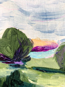 Detail of landscape. Here you see broad white and blue brushstrokes in the sky with a little lavender pencil under them, a green tree, green brushstrokes for the field.
