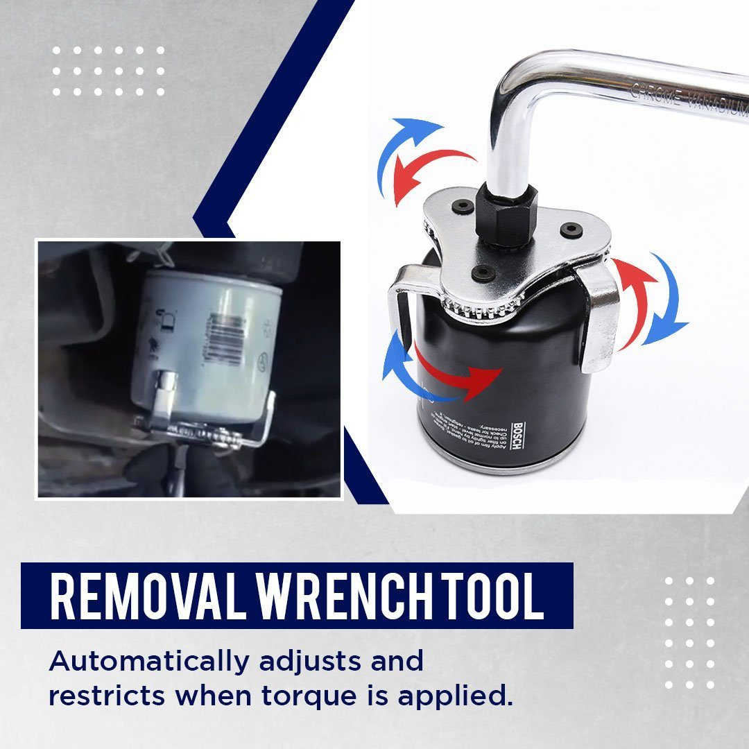 ADJUSTABLE OIL FILTER REMOVAL WRENCH TOOL