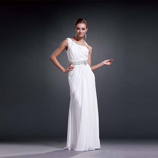 Greek style long white prom dress