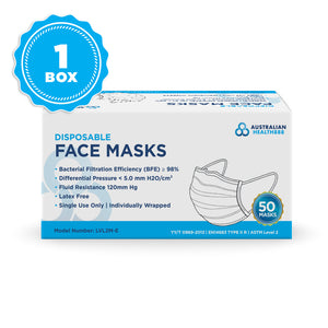 Australian Health 888 Level 2 Disposable Face Mask - Earloop - Pack of 50