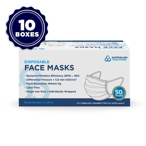 10 x Australian Health 888 Level 3 Disposable Face Mask - Earloop - Pack of 50