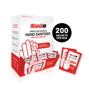 Single use sachets Hand Sanitiser x200 sachet dispenser box