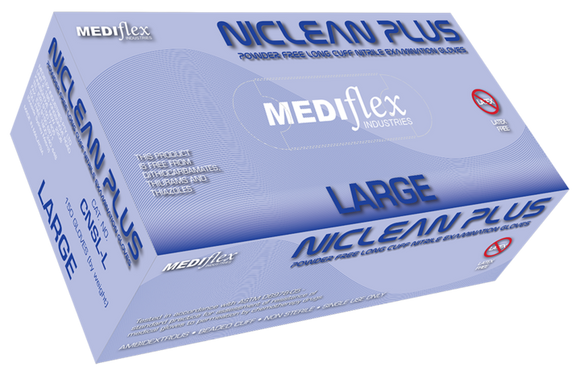 Mediflex Niclean Plus Powder Free Longcuff Nitrile Glove - 10 boxes of 150 gloves
