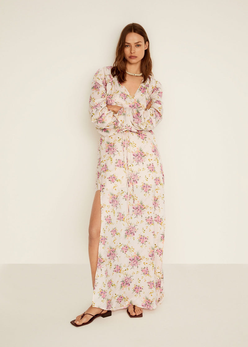 Mango Ruched sleeve floral dress for Women - Medium Plane